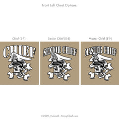 "Navy Chief ""Results, Not Excuses"" CPO/SCPO/MCPO Skull T-shirt, Khaki - NavyChief.com"