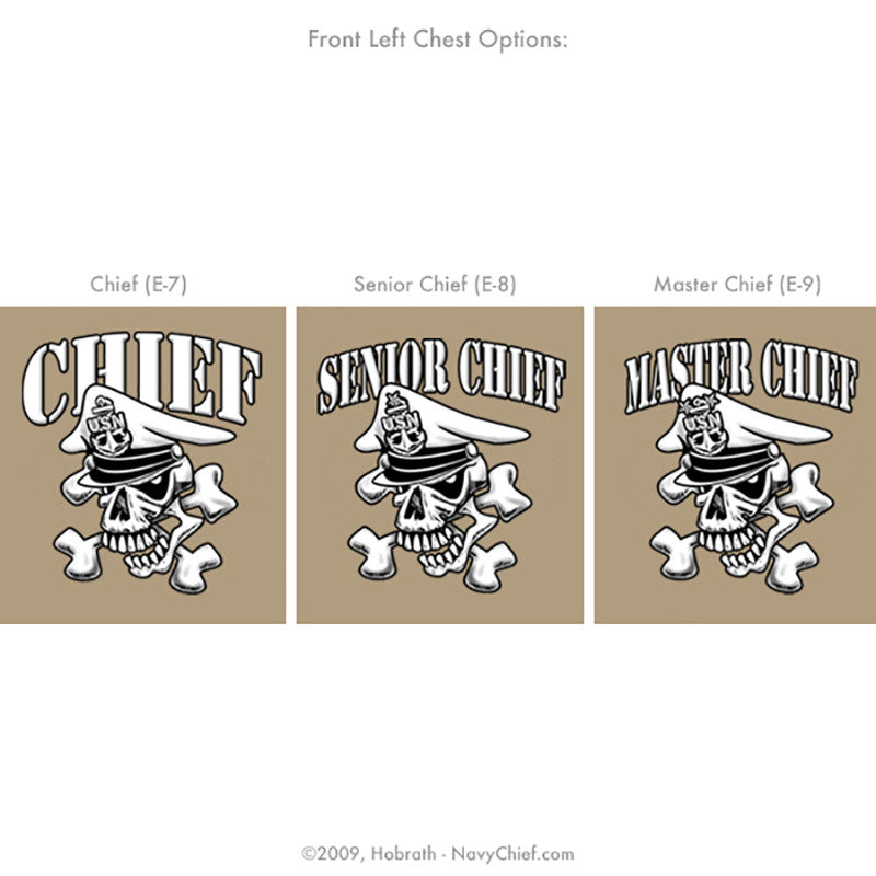 "Navy Chief ""Tested, Selected, Initiated."" CPO/SCPO/MCPO Skull T-shirt, Khaki - NavyChief.com"
