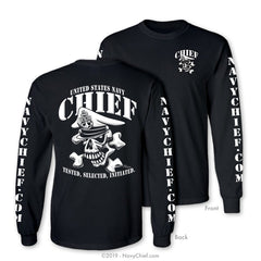 """Initiated"" CPO/SCPO/MCPO Skull Long Sleeve Tee, Black - NavyChief.com - Navy Pride, Chief Pride."