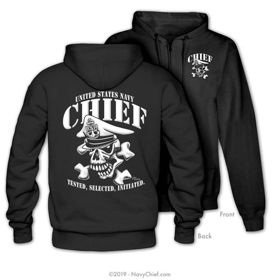 """Initiated"" CPO/SCPO/MCPO Skull Zippered Hooded Sweatshirt, Black - NavyChief.com - Navy Pride, Chief Pride."