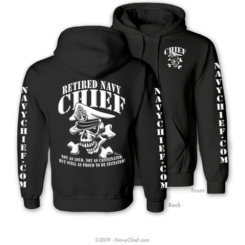 """Retired"" CPO/SCPO/MCPO Skull Sweatshirts, Black - NavyChief.com - Navy Pride, Chief Pride."