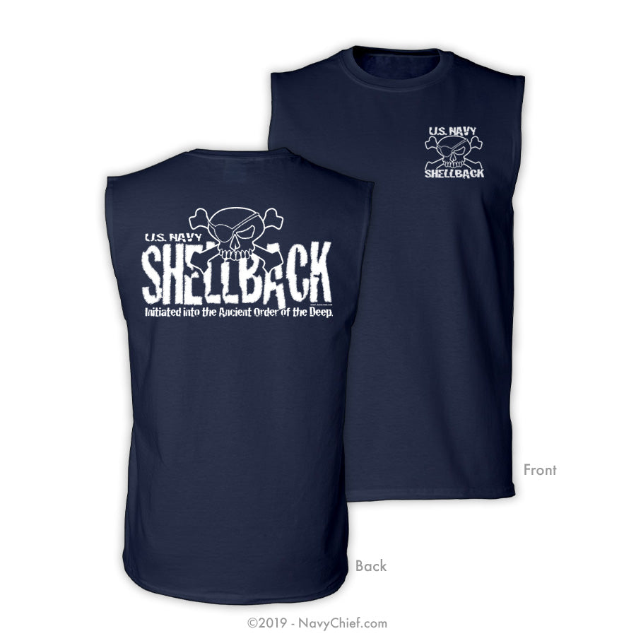 """US Navy Shellback"" Sleeveless Tee, Navy - NavyChief.com - Navy Pride, Chief Pride."
