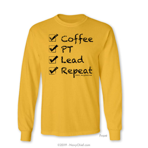 """Checklist"" Long Sleeve Tee, Gold - NavyChief.com - Navy Pride, Chief Pride."