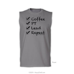 """Checklist"" Sleeveless Tee, Sports Gray - NavyChief.com - Navy Pride, Chief Pride."