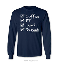 """Checklist"" Long Sleeve Tee, Navy - NavyChief.com - Navy Pride, Chief Pride."