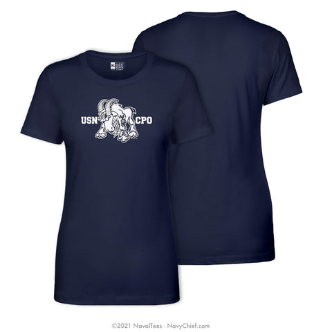 """USN CPO"" Goat Ladies Tee, Navy"