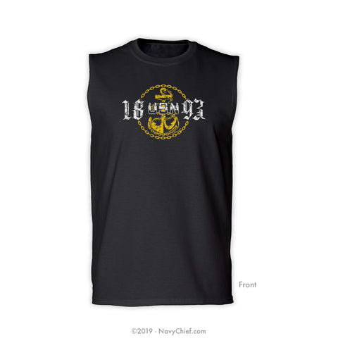 """USN 1893"" Sleeveless Tee, Black - NavyChief.com - Navy Pride, Chief Pride."