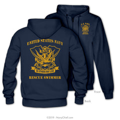"""Rescue Swimmer"" Zippered Hooded Sweatshirt, Navy"