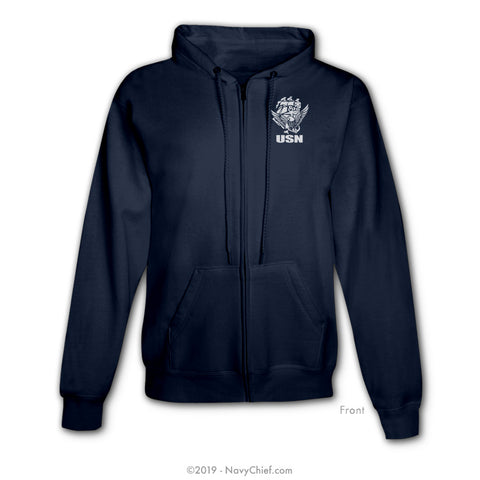 """USN"" ACE Zippered Hooded Sweatshirt, Navy - NavyChief.com - Navy Pride, Chief Pride."