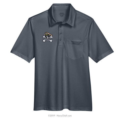Embroidered Skull - Snag Protection Plus Polo w/ Pocket, Gray
