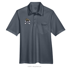 Embroidered Skull - Snag Protection Plus Polo w/ Pocket, Gray - NavyChief.com - Navy Pride, Chief Pride.