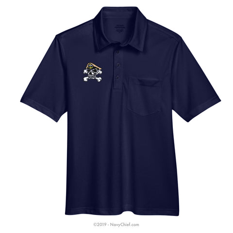 Embroidered Skull - Snag Protection Plus Polo w/ Pocket, Navy