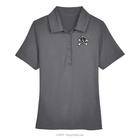 Embroidered Skull - Ladies' Range Flex Performance Polo, Gray - NavyChief.com - Navy Pride, Chief Pride.