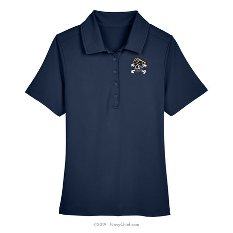 Embroidered Skull - Ladies' Range Flex Performance Polo, Navy - NavyChief.com - Navy Pride, Chief Pride.