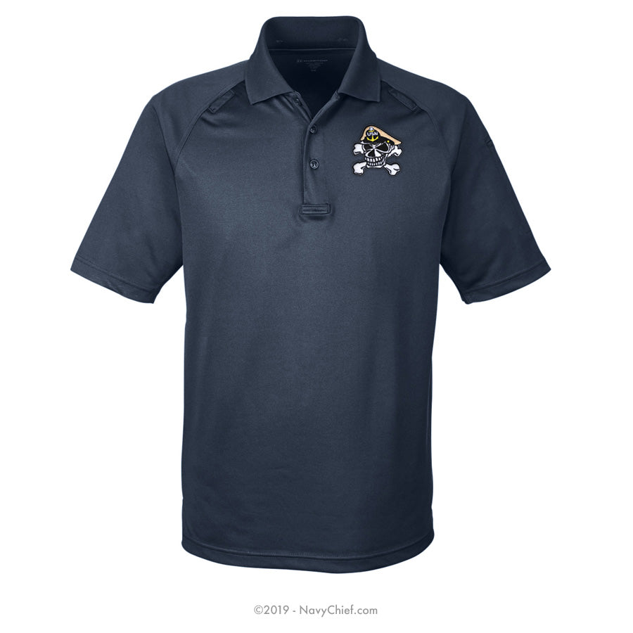 Embroidered Skull - Tactical Performance Polo, Navy - NavyChief.com - Navy Pride, Chief Pride.