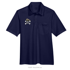 Embroidered Skull - Snag Protection Plus Polo w/ Pocket, Navy - NavyChief.com - Navy Pride, Chief Pride.
