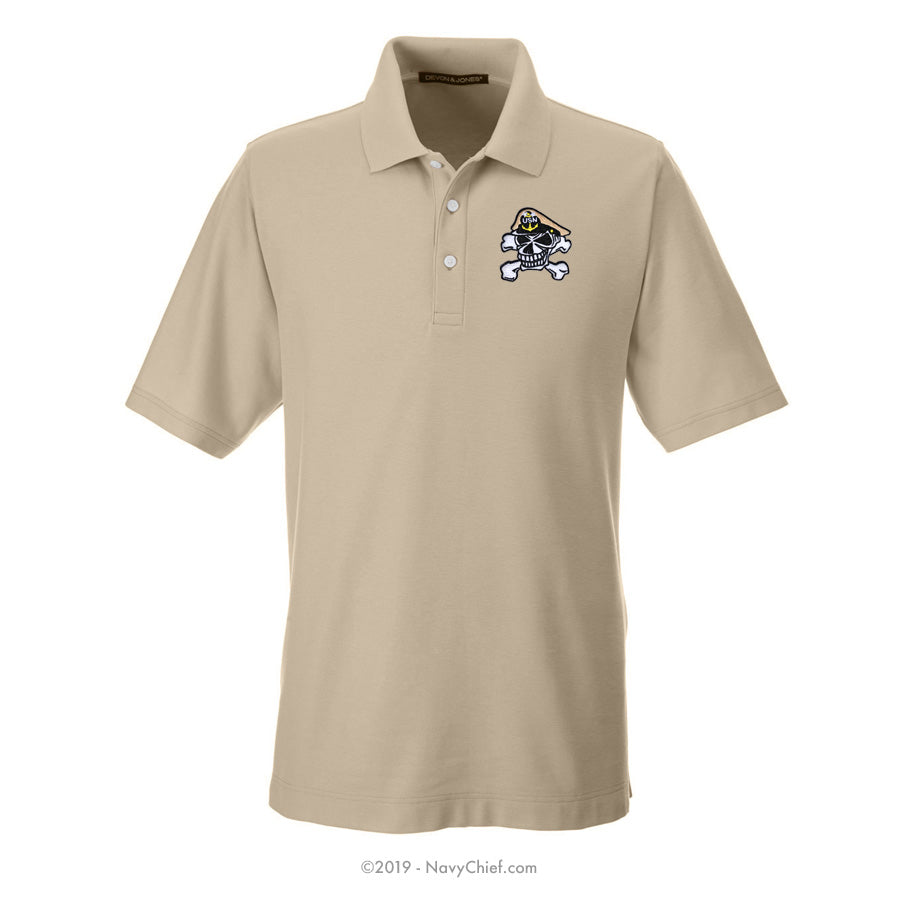 Embroidered Skull - Men's DRYTEC20™ Performance Polo, Khaki - NavyChief.com - Navy Pride, Chief Pride.