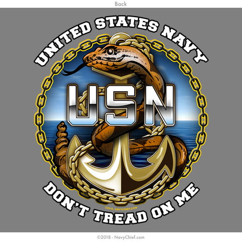 "US NAVY CHIEFS ""Don't tread on me"" Long Sleeve Tee, Heather Grey - NavyChief.com - Navy Pride, Chief Pride."