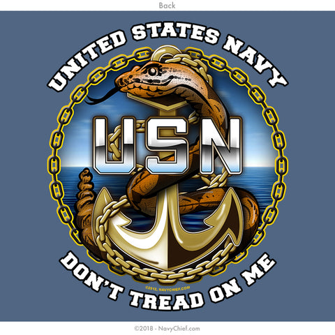 "US Navy Chiefs ""Don't tread on me"" T-shirt, Lake Blue - NavyChief.com - Navy Pride, Chief Pride."
