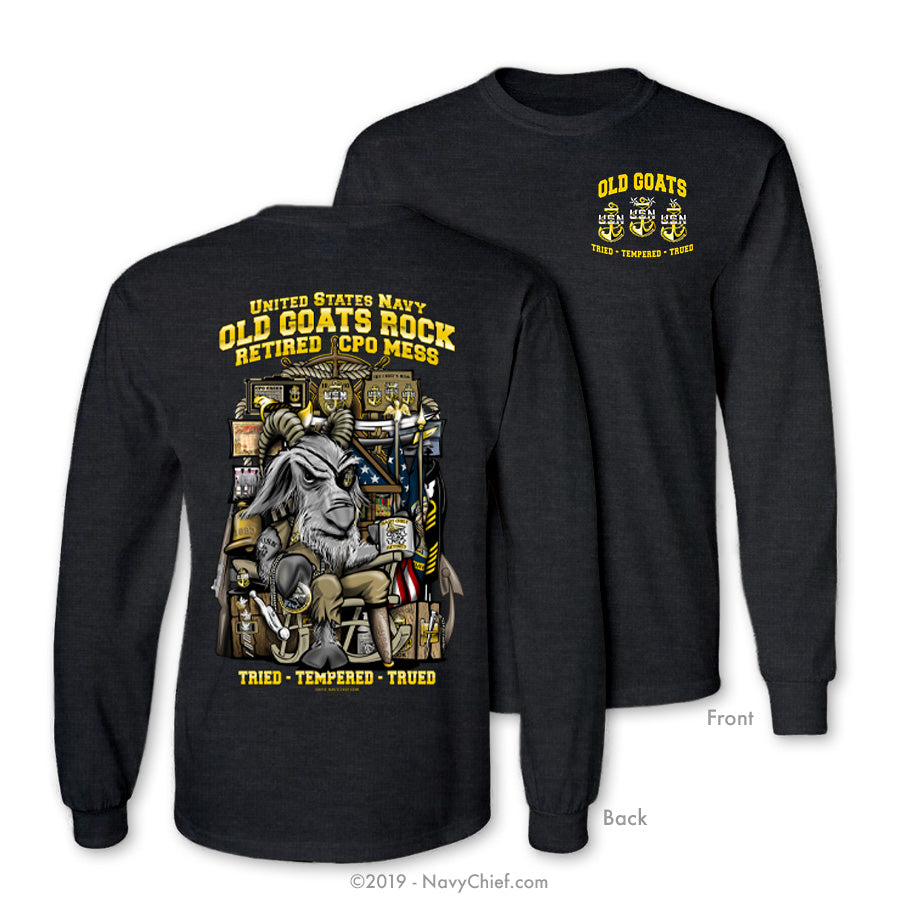 """Old Goats Rock"" Retired Chiefs Long Sleeve Tee, Dark Heather Gray - NavyChief.com - Navy Pride, Chief Pride."
