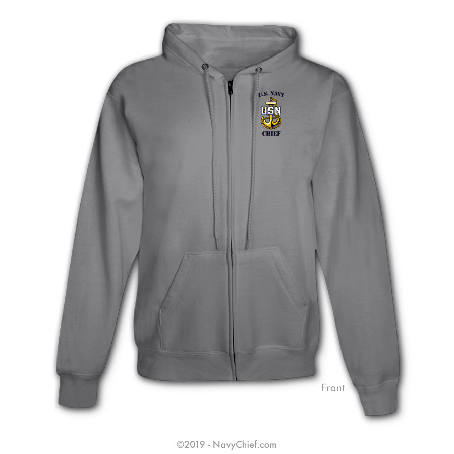 """Anchor Rank"" Zippered Hooded Sweatshirt, Gray - NavyChief.com - Navy Pride, Chief Pride."