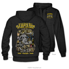 """Old Goats Rock"" Zippered Hoodie, Dark Heather Grey - NavyChief.com - Navy Pride, Chief Pride."