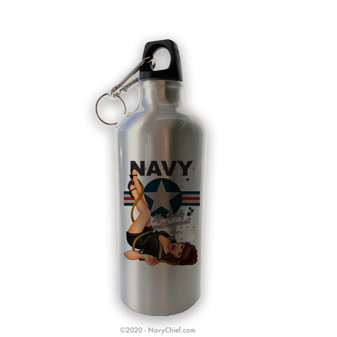 """Navy Pin-Up"" Girl Aluminum Water Bottle - Silver"
