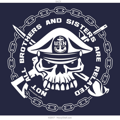 """Not All Brothers and Sisters Are Related"" - Pocket Tee, Navy - NavyChief.com - Navy Pride, Chief Pride."