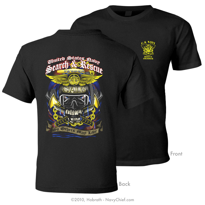 U.S. Navy Search and Rescue (SAR) Aircrew Swimmer T-shirt, Black - NavyChief.com