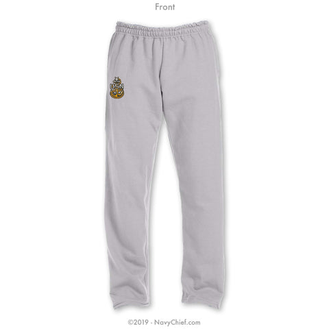 """Embroidered Anchor"" Sweatpants - Grey"