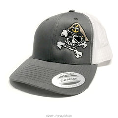 Embroidered CPO Skull - Open Mesh Cap - NavyChief.com - Navy Pride, Chief Pride.