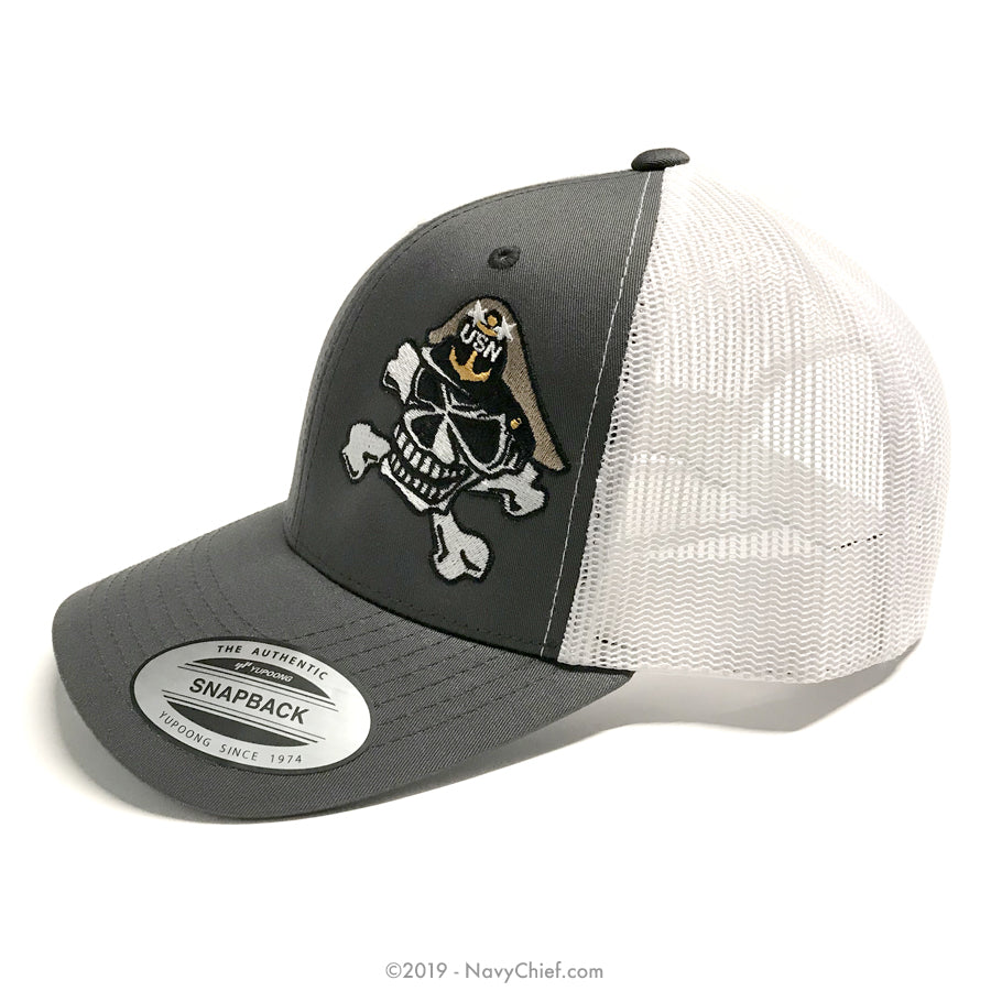 Embroidered MCPO Skull - Open Mesh Cap - NavyChief.com - Navy Pride, Chief Pride.