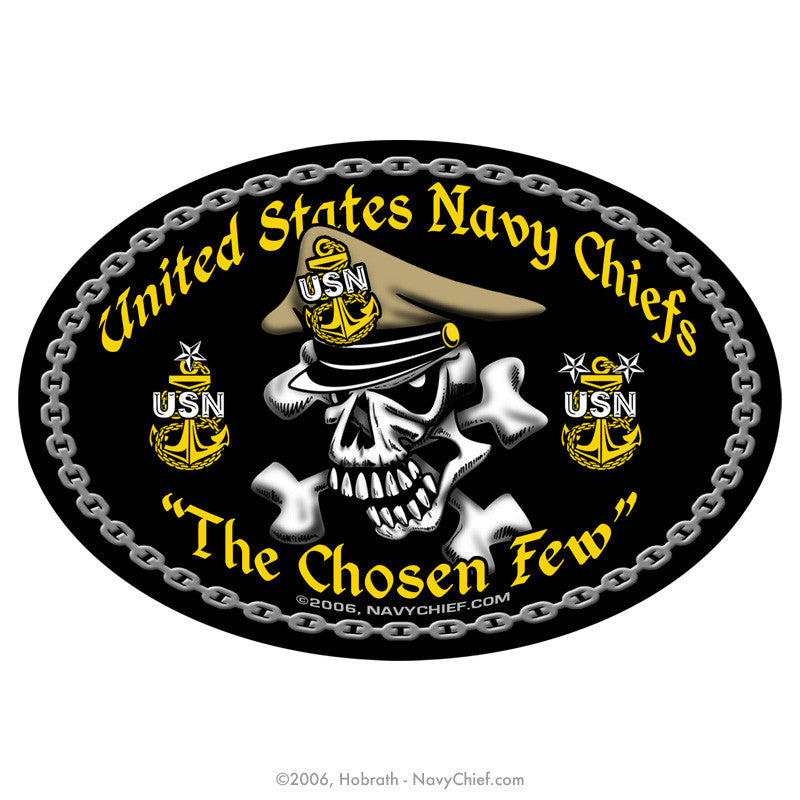 "4"" x 6"" Oval ""United States Navy Chiefs - The Chosen Few"" Sticker - NavyChief.com - Navy Pride, Chief Pride."