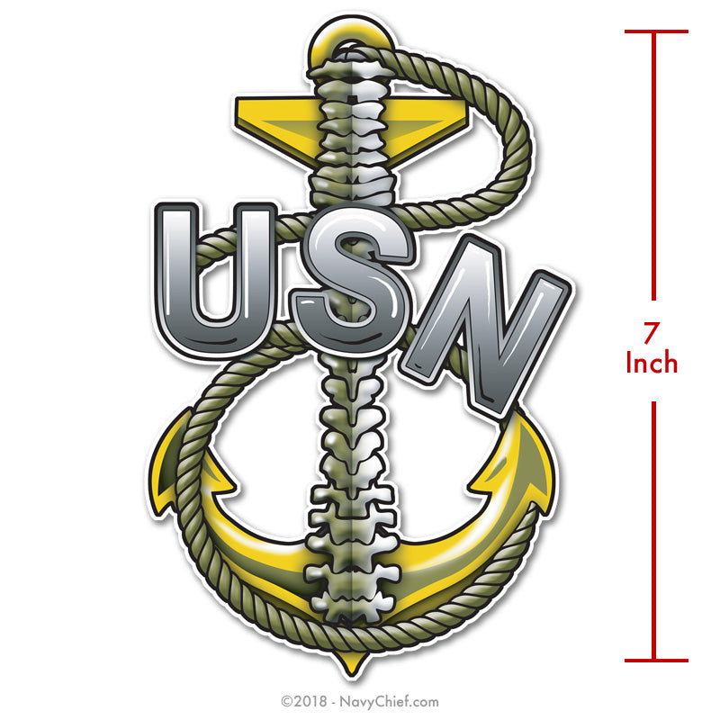 """Backbone - Traditional Anchor"" Sticker - NavyChief.com - Navy Pride, Chief Pride."