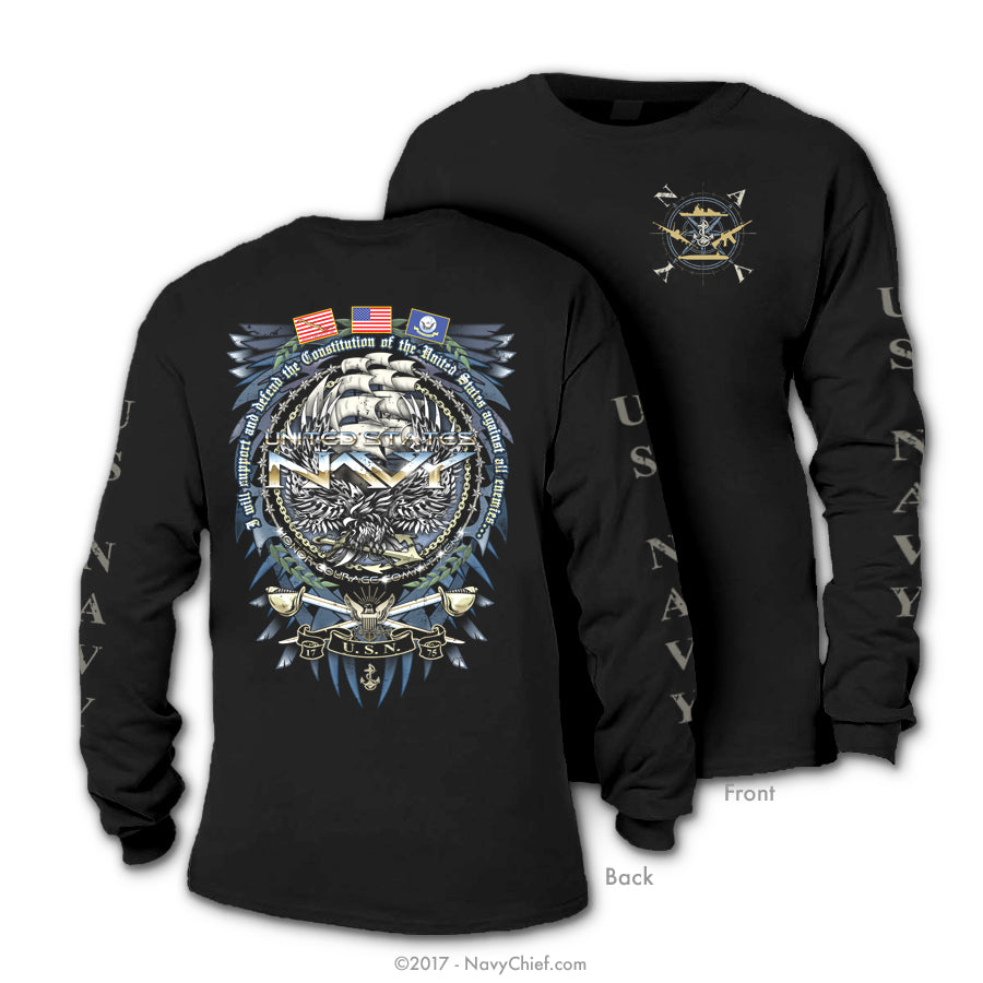 """Support & Defend"" Long Sleeve T-shirt, Black"
