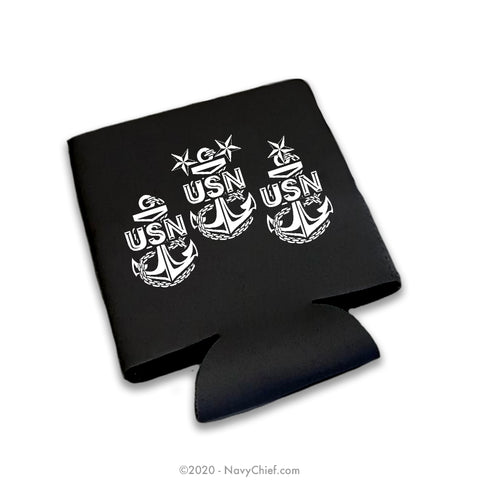 """3 Anchors"" 12 oz Can Koozie, Black - NavyChief.com - Navy Pride, Chief Pride."