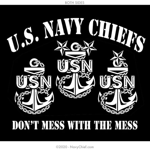"""Dont Mess"" 12 oz Can Koozie, Black - NavyChief.com - Navy Pride, Chief Pride."