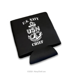 """CPO Anchor"" 12 oz Can Koozie, Black - NavyChief.com - Navy Pride, Chief Pride."