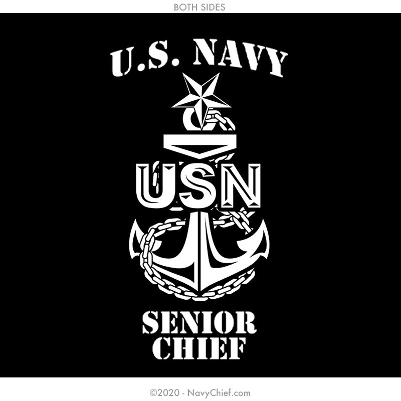 """SCPO Anchor"" 12 oz Can Koozie, Black - NavyChief.com - Navy Pride, Chief Pride."