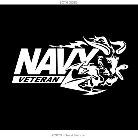 """Navy VET"" 12 oz Can Koozie, Black - NavyChief.com - Navy Pride, Chief Pride."