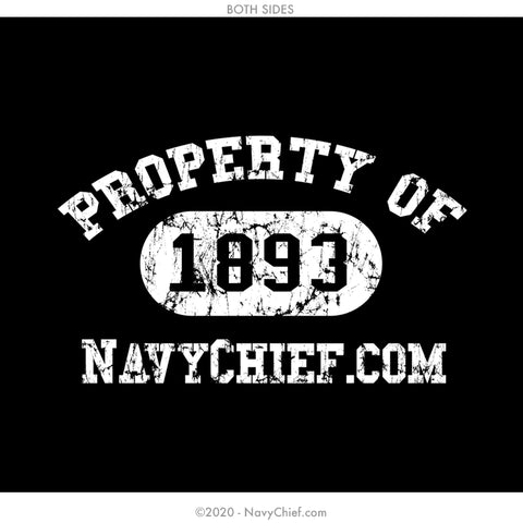 """Property Of"" 12 oz Can Koozie, Black - NavyChief.com - Navy Pride, Chief Pride."