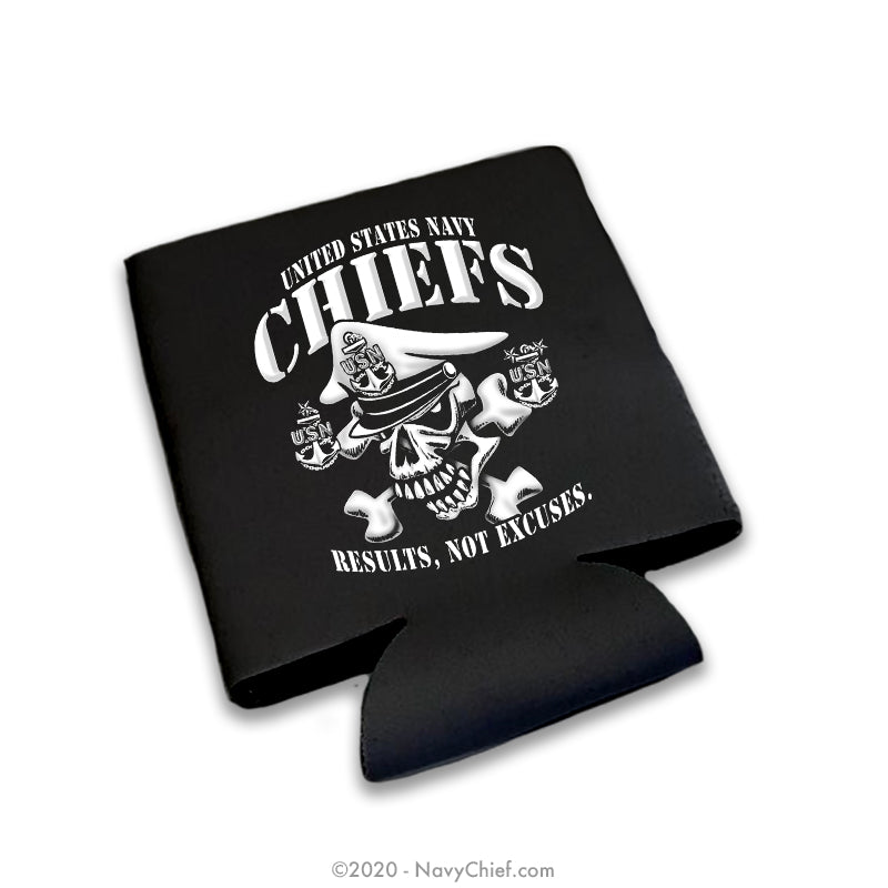 """Results"" 12 oz Can Koozie, Black - NavyChief.com - Navy Pride, Chief Pride."