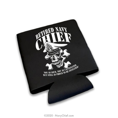 """Retired"" 12 oz Can Koozie, Black - NavyChief.com - Navy Pride, Chief Pride."