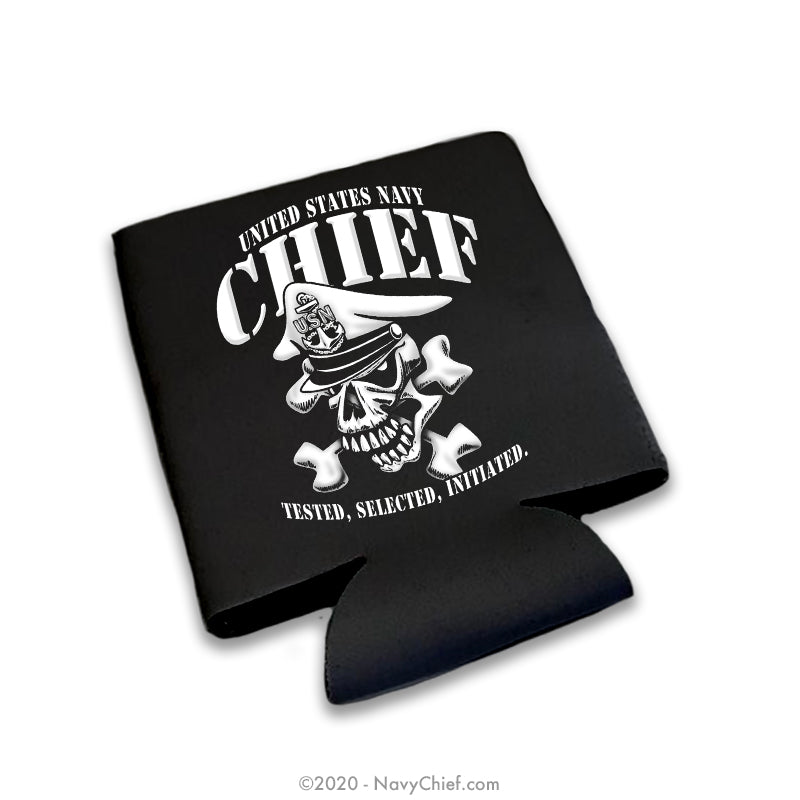 """Tested, Selected, Initiated"" 12 oz Can Koozie, Black - NavyChief.com - Navy Pride, Chief Pride."