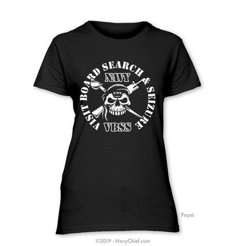 """Visit, Board, Search & Seizure (VBSS)"" Ladies Tee, Black - NavyChief.com - Navy Pride, Chief Pride."