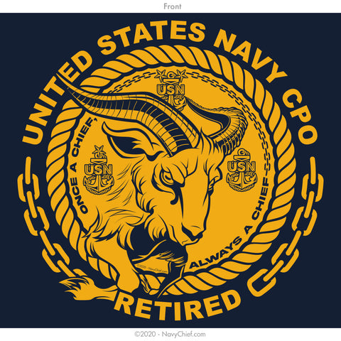 """CPO Retired"" Goat Long Sleeve Tee, Navy"