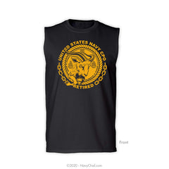 """CPO Retired"" Goat Sleeveless Tee, Black"