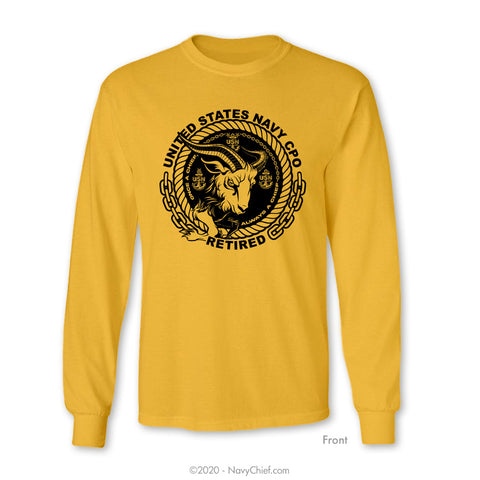 """CPO Retired"" Goat Long Sleeve Tee, Gold"