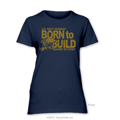 "Seabees ""Born to Build"" Ladies Tee, Navy"