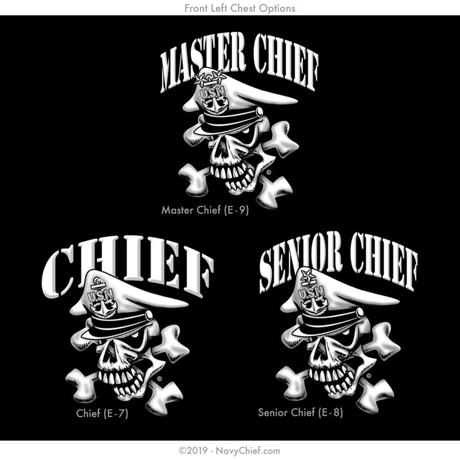 """Initiated"" CPO/SCPO/MCPO Skull Hooded Sweatshirt, Black - NavyChief.com - Navy Pride, Chief Pride."